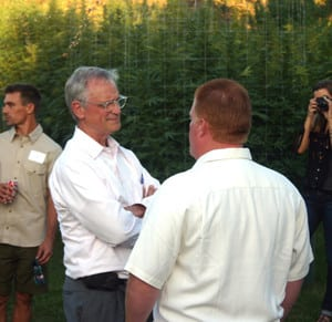 Portland Congressman Earl Blumenauer (L) with Kenyon at the first ever Congressional fundraiser in a marijuana garden!. Image Keith Mansur, OCC