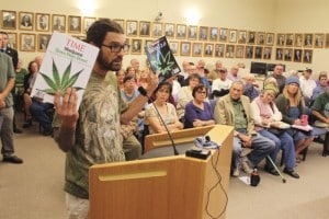 Ilo Ferroggiaro of Laughing Lotus Farms addresses the Klamath County Commissioners
