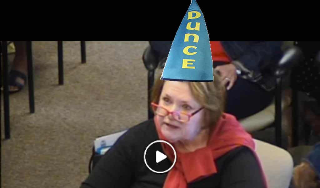 Video Clip of testimony by Lillibet (no Dunce Cap)