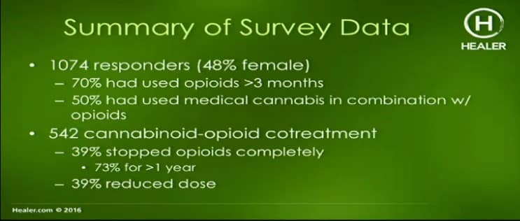 Cannabis and Opioid slide from Healer.com video. Cannabis for Opioid Addiction