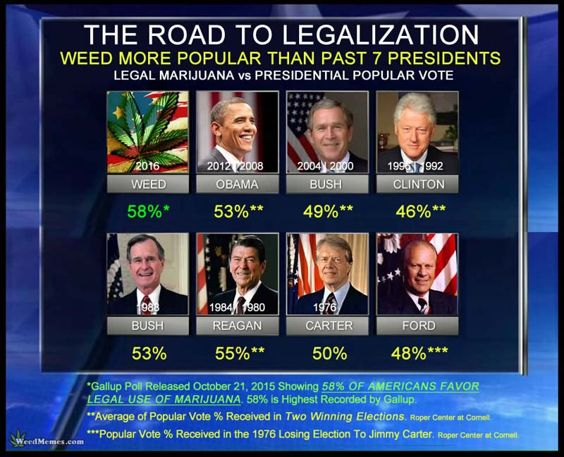 Weed More Popular Than Presidents