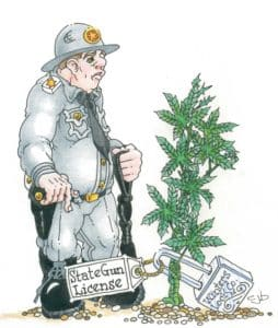 Jackson County Oregon Sheriff Mike Winters cartoon from OCC cover in August 2011. Image: OCCNewspaper.com