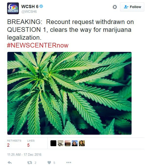 Legalize Maine, Recount, Withdrawn, Marijuana, Legalize, cannabis